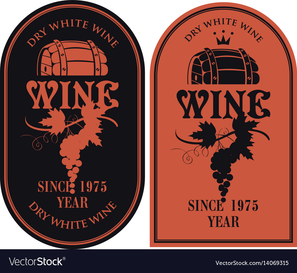 Set labels for wine with barrel and grapes