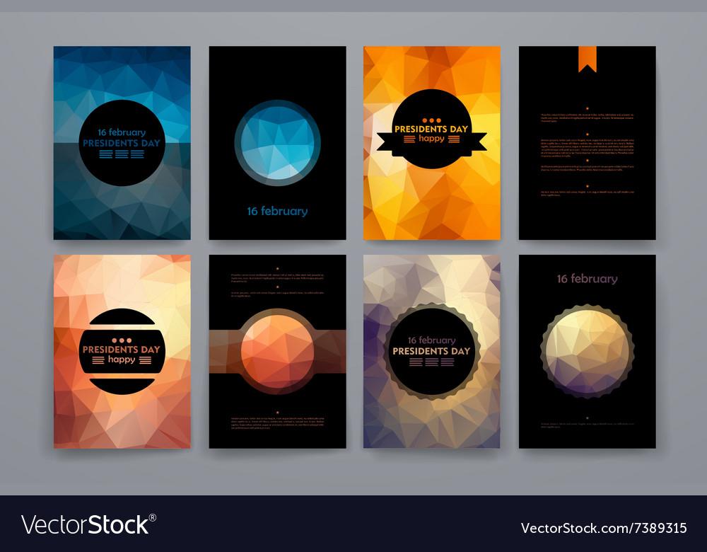 Set of brochures in poligonal style on Presidents
