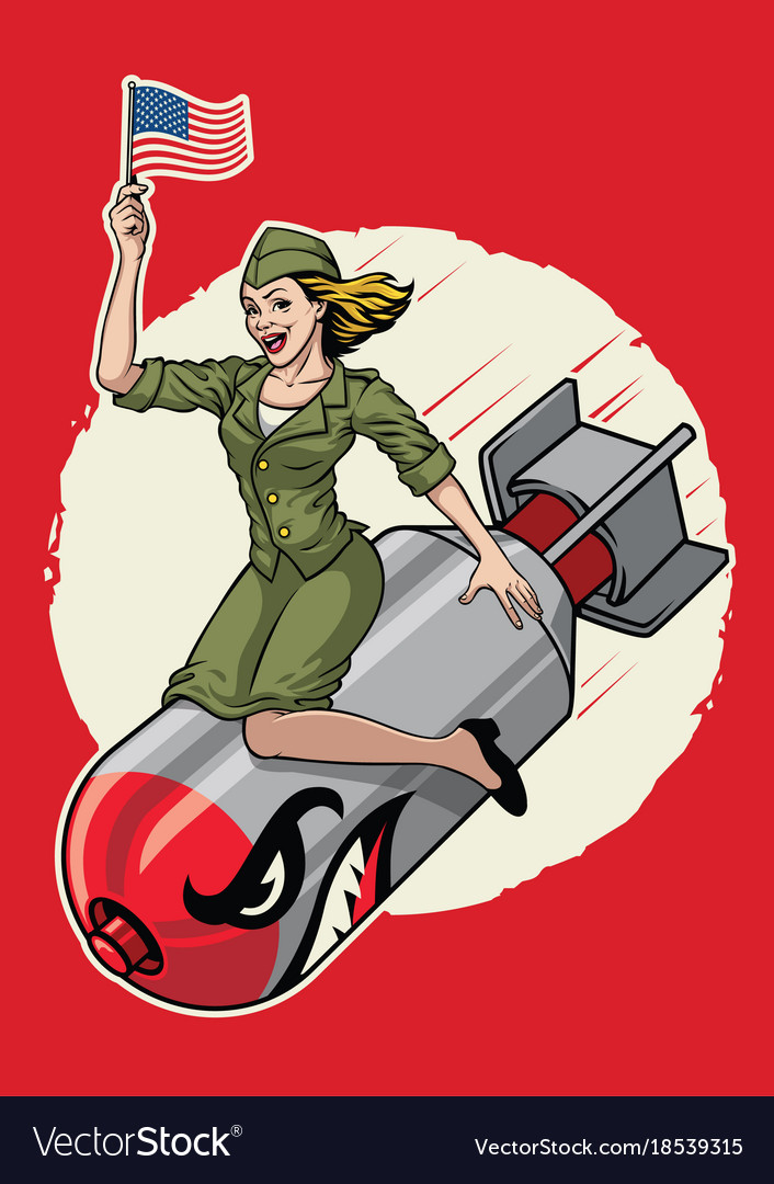 Usa pin up girl ride a nuclear bomb