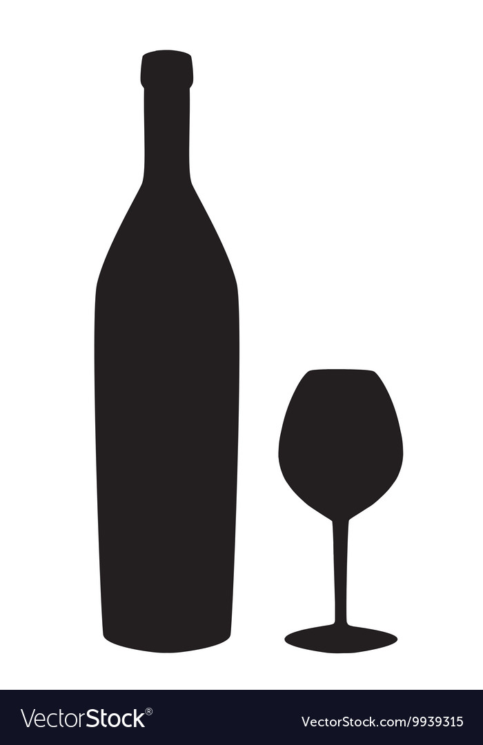 Wine bottle and glass silhouette isolated on white
