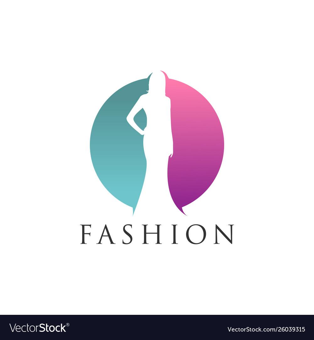 Woman silhouette negative space fashion logo desig