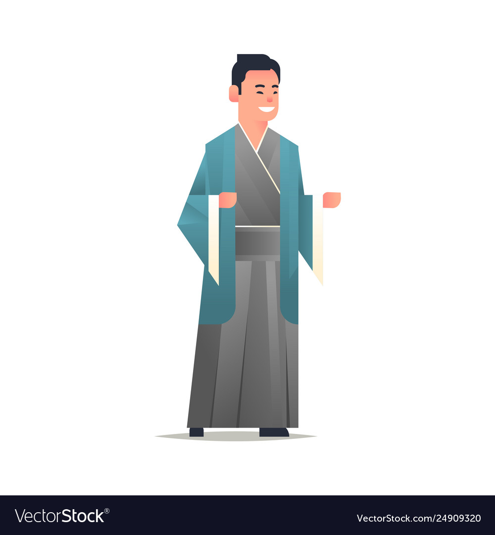 Asian guy wearing traditional clothes smiling man