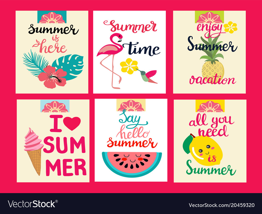 Cards of summer elements theme of summer holiday vector image