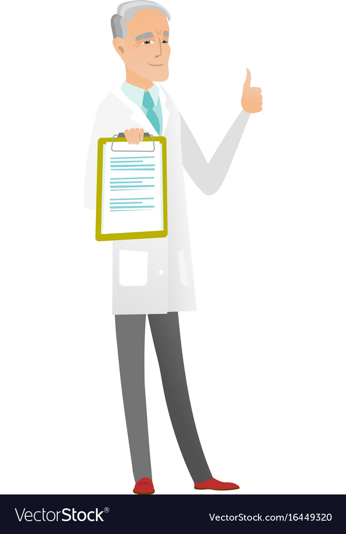 Caucasian doctor with clipboard giving thumb up