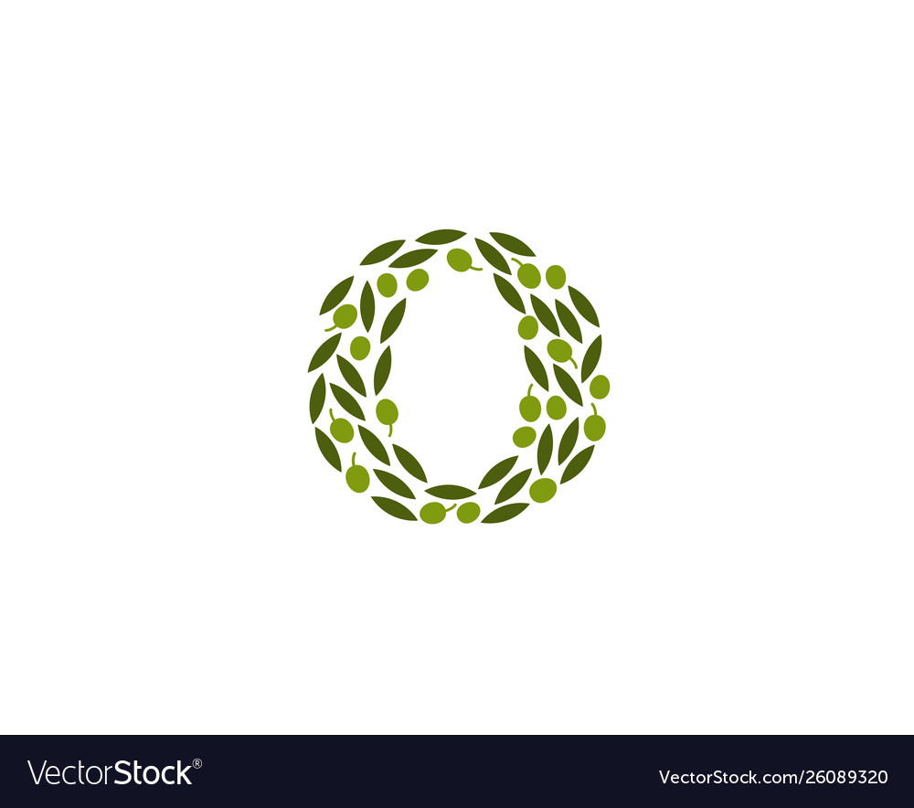 Creative abstract o letter olive leaves logo
