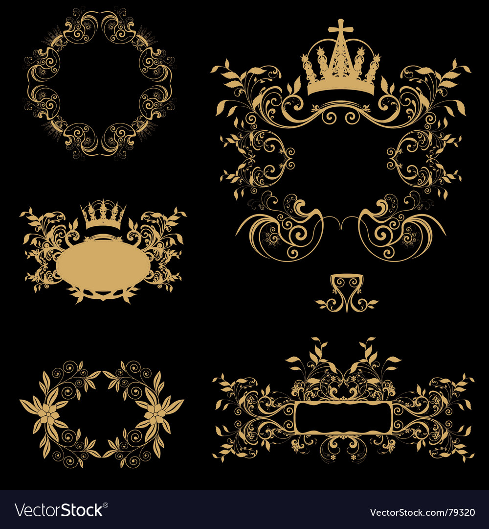 Golden frames Royalty Free Vector Image - VectorStock