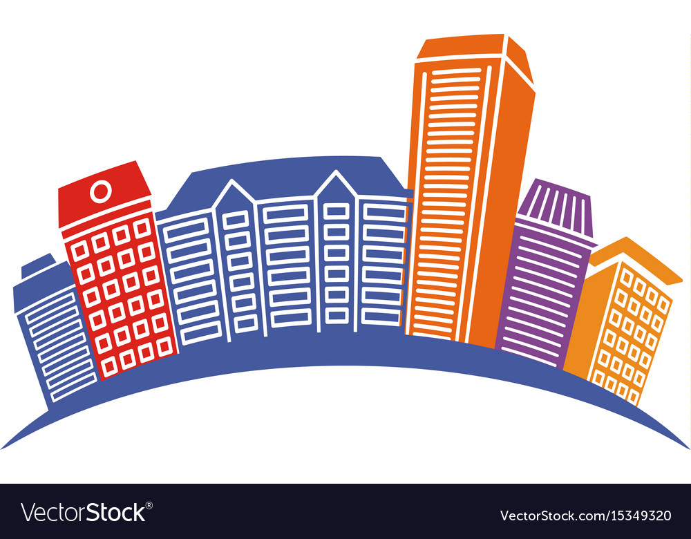 Isolated abstract colorful city skyscraper logo
