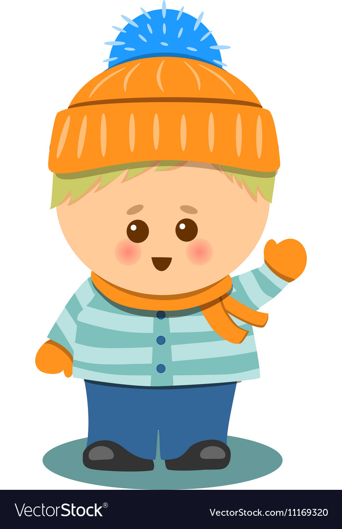 Little Cute Boy With Winter Clothes Isolated