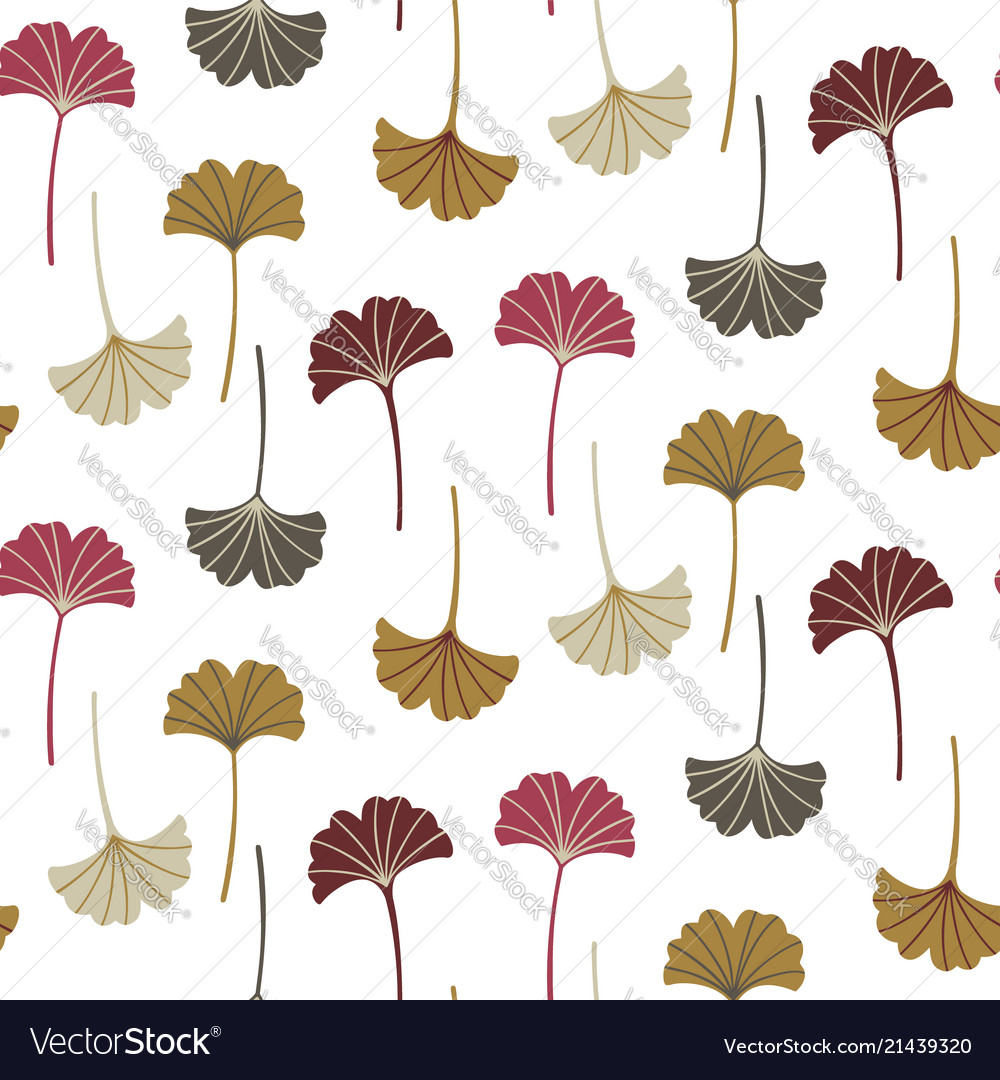 Modern seamless pattern with ginkgo leaves autumn