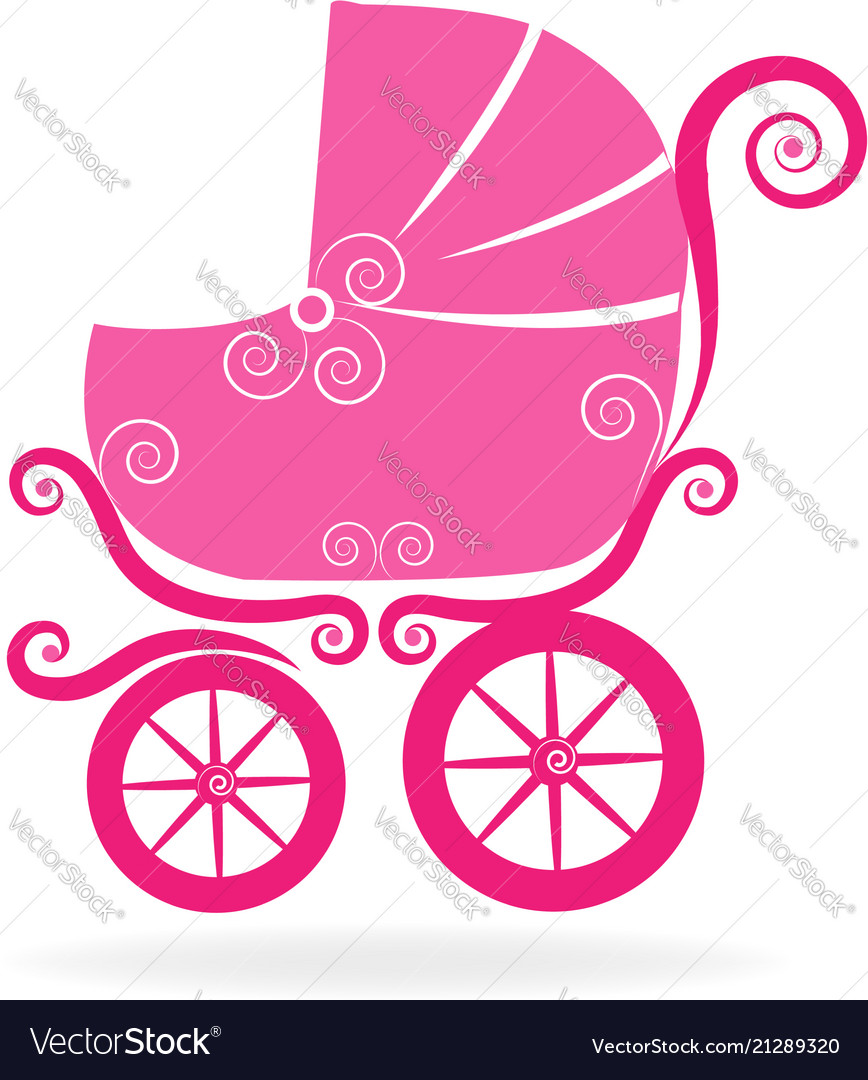 Pink baby stroller icon