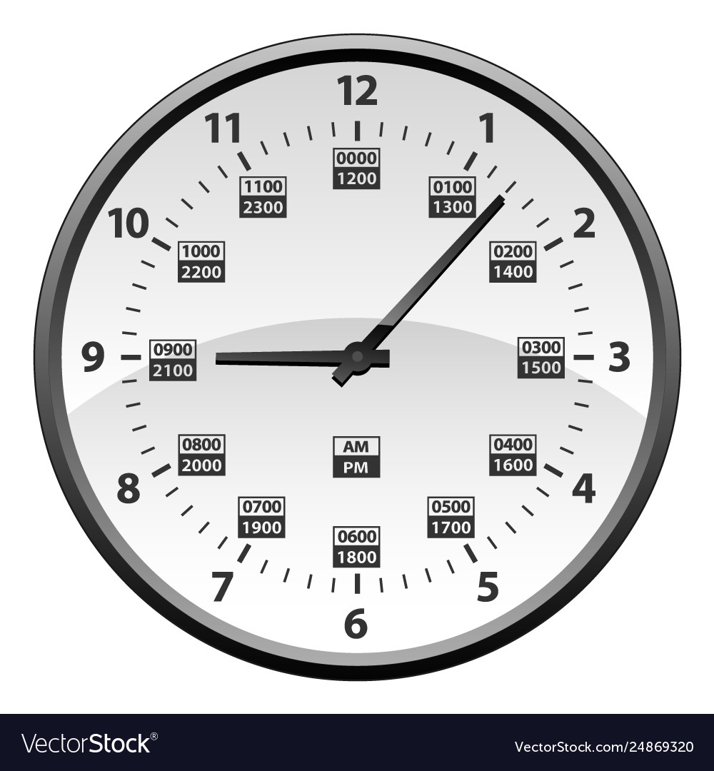 Military Time Clock >> Realistic 12 To 24 Hour Military Time Clock Vector Image