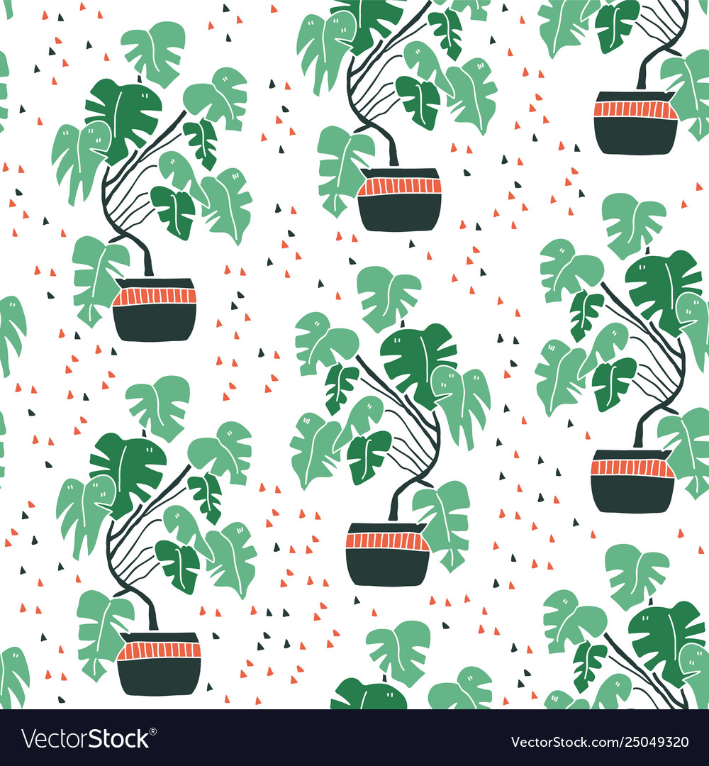 Seamless pattern with cute hand drawn flower pots