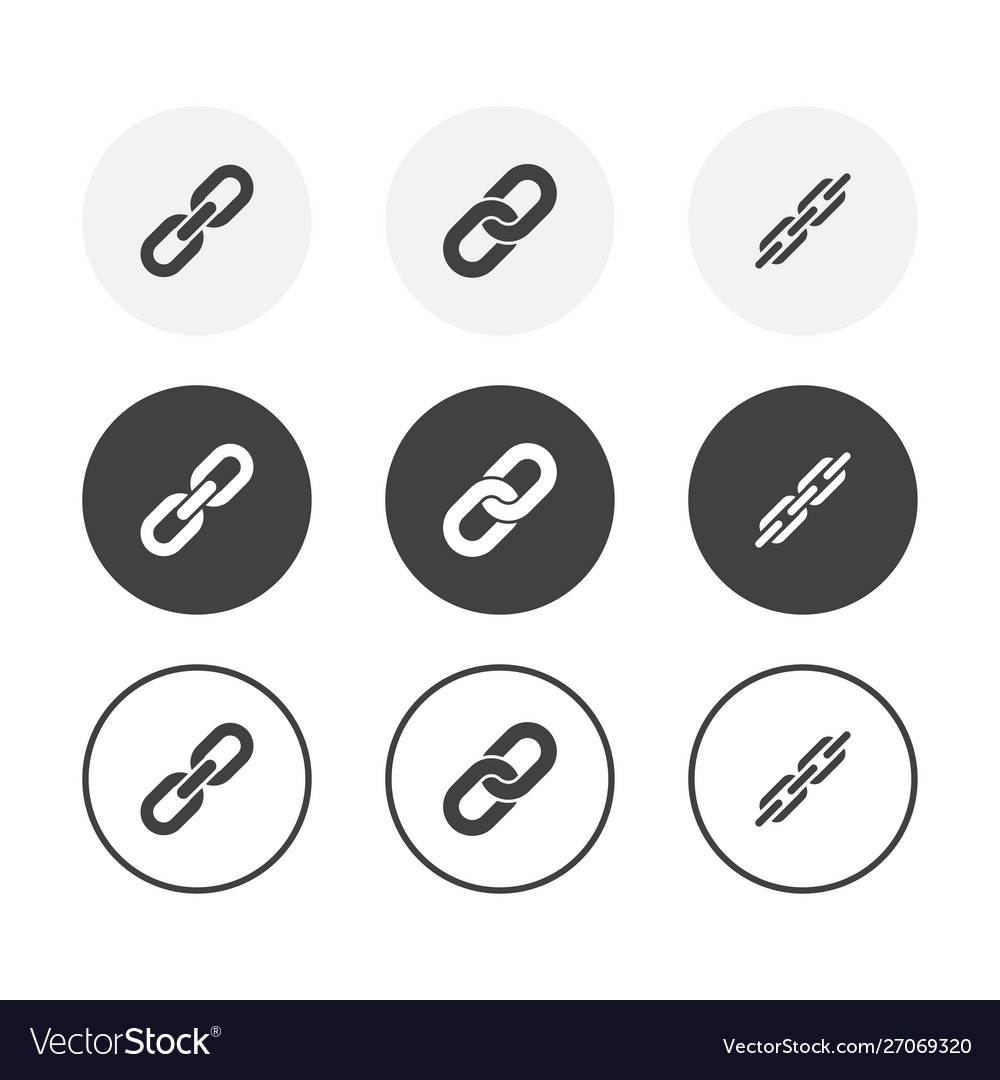Set 3 simple design chain icons rounded