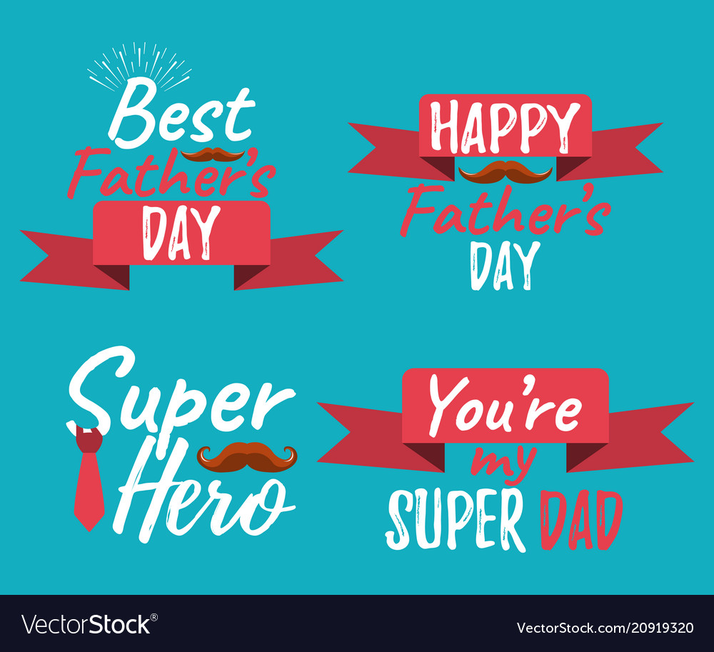 Set of happy fathers day banner and giftcard best