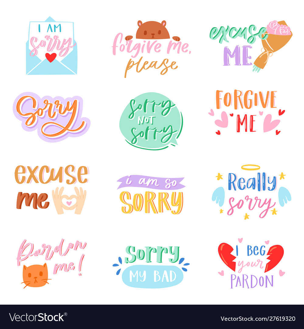 Sorry text excuse lettering design