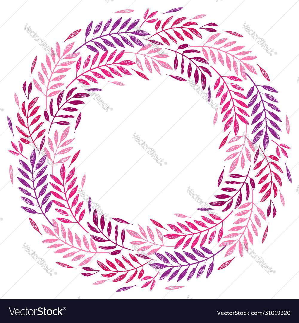 Tropical palm leaves foliage wreath round frame