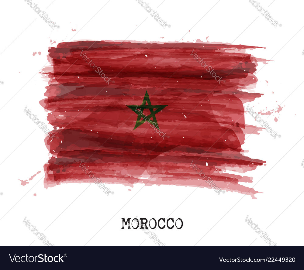 Watercolor painting design flag of morocco