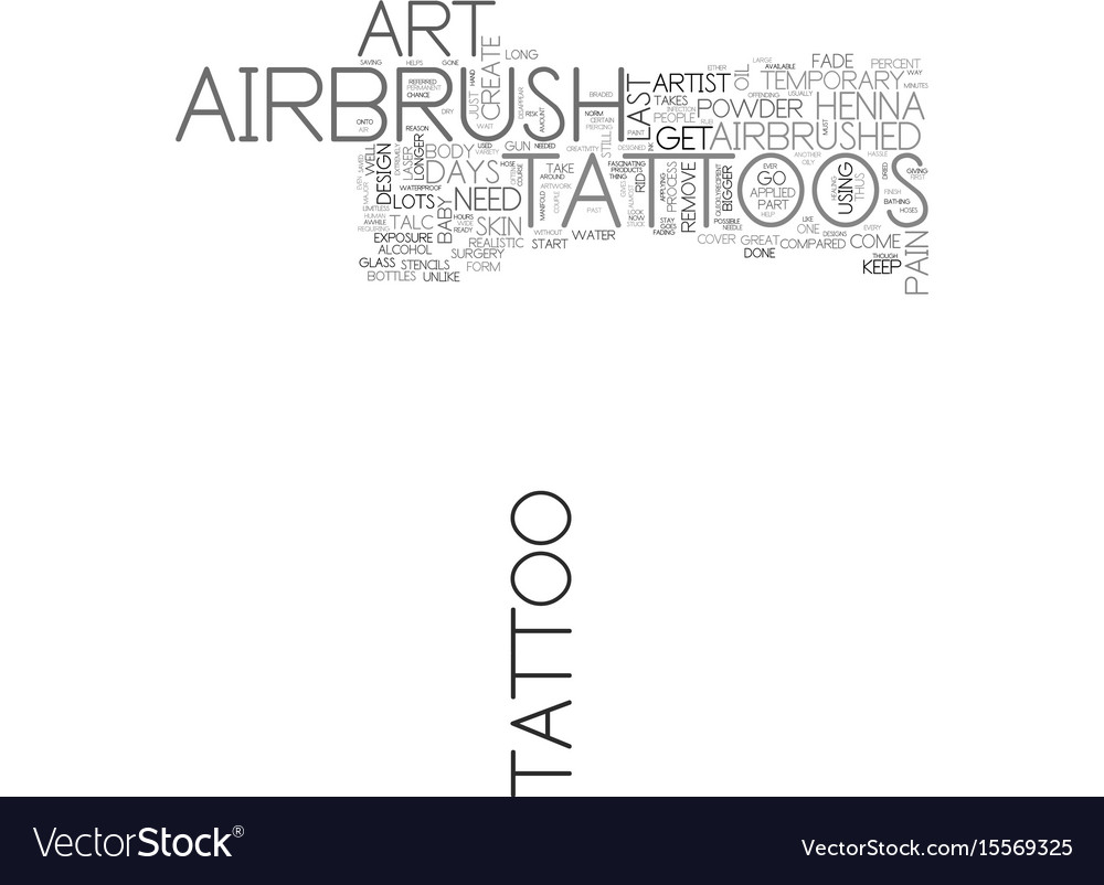 Airbrush art tattoos text word cloud concept