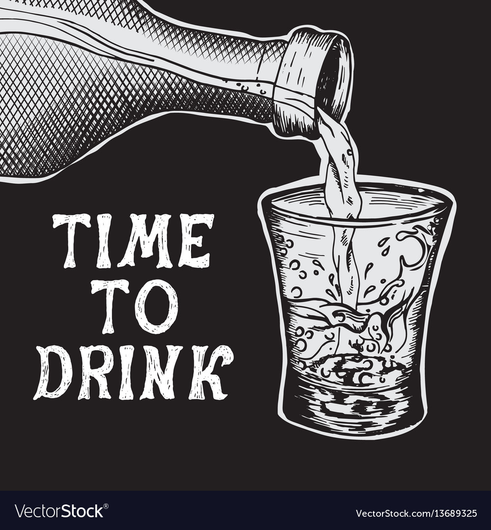 Alcoholic drink poured into the glass vector image