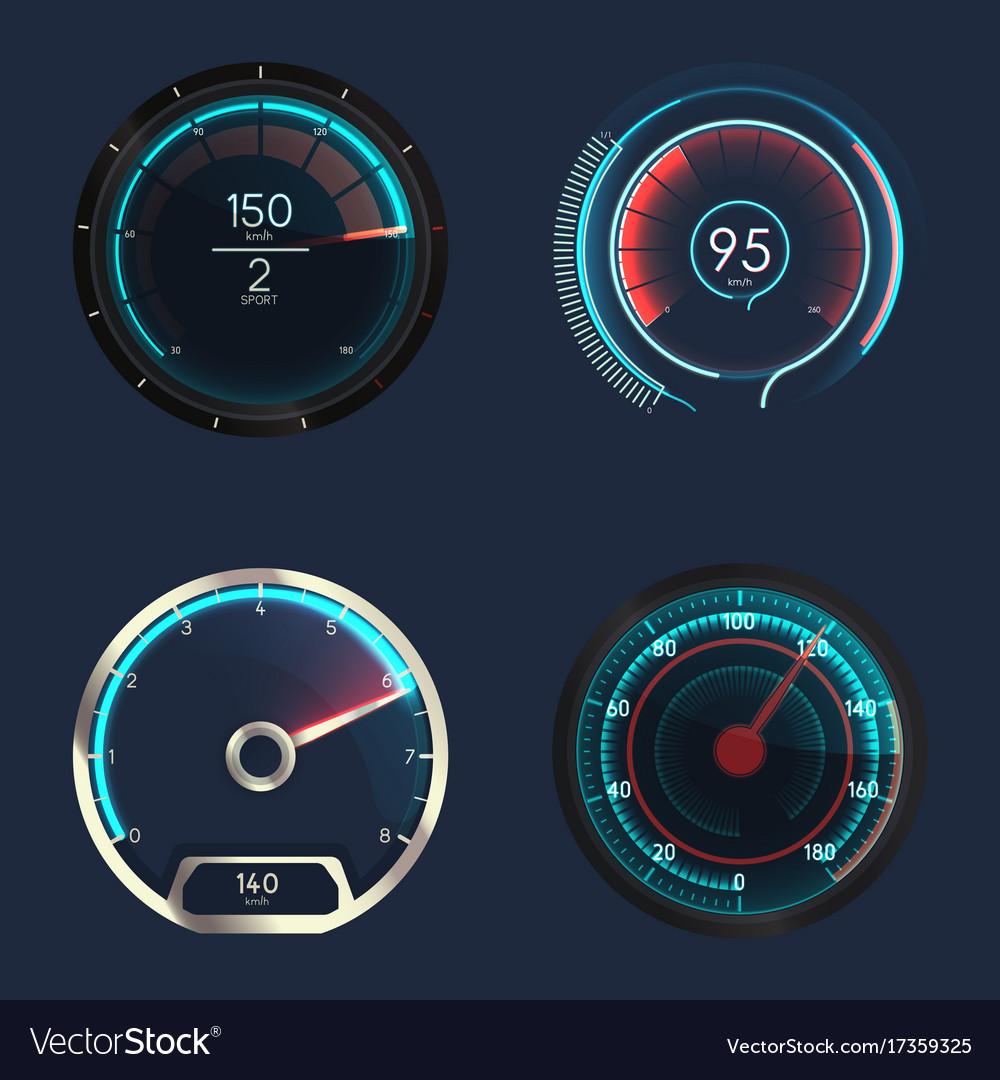 Analog and futuristic speedometer or gauge