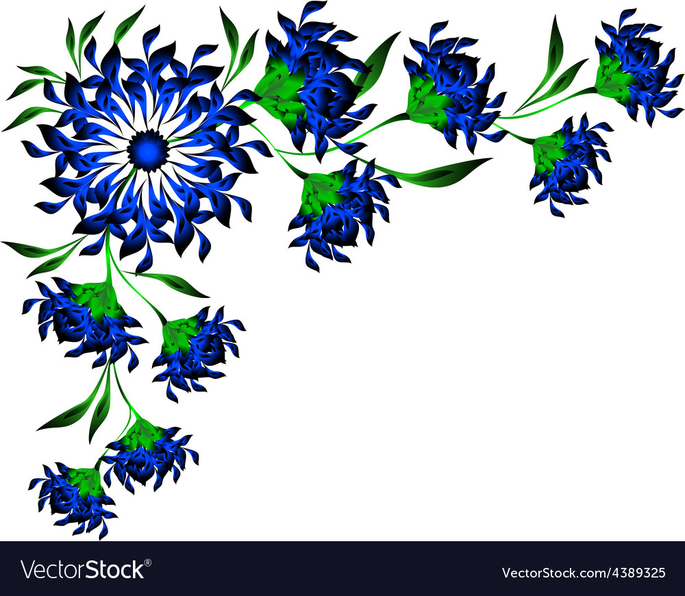 border of blue flowers and leaves eps10 royalty free vector vectorstock