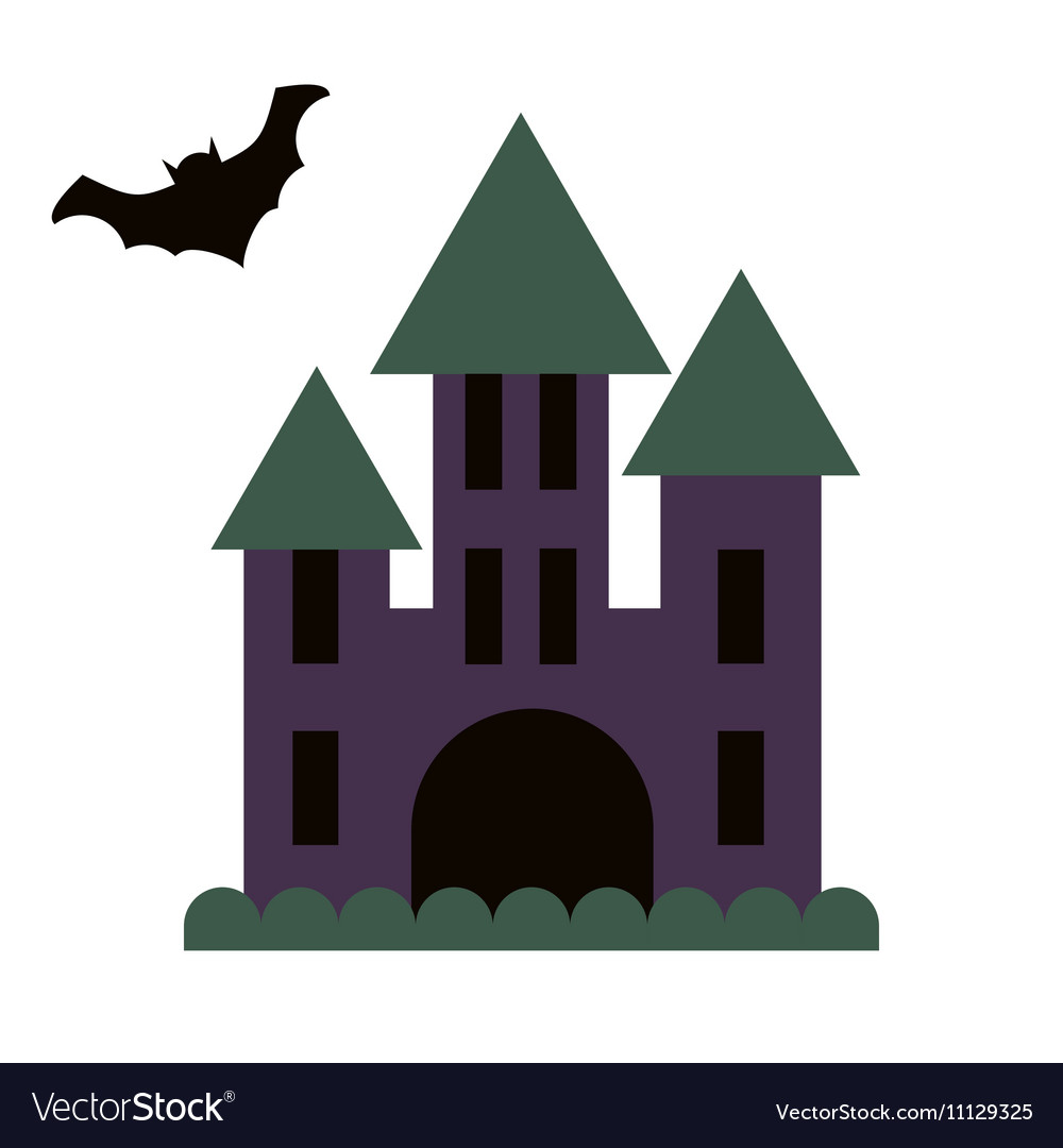 Dark gloomy castle and flying bat