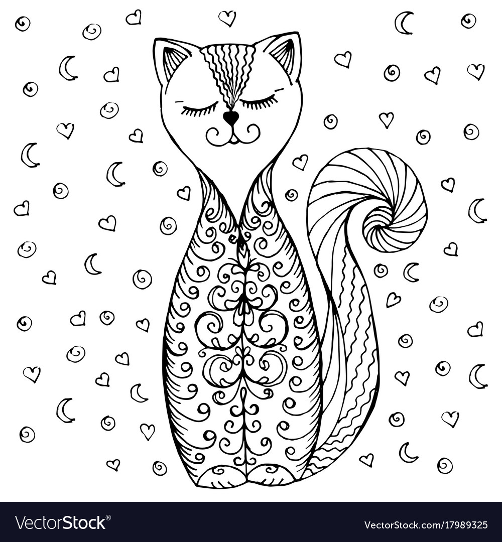 Doodle cat pattern and hearts