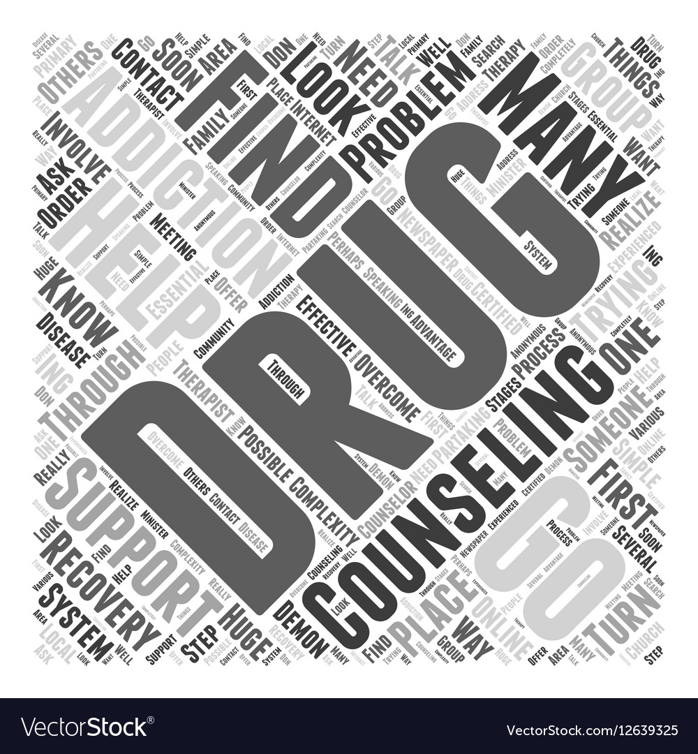 Drug Addiction Counseling Word Cloud Concept Vector Image