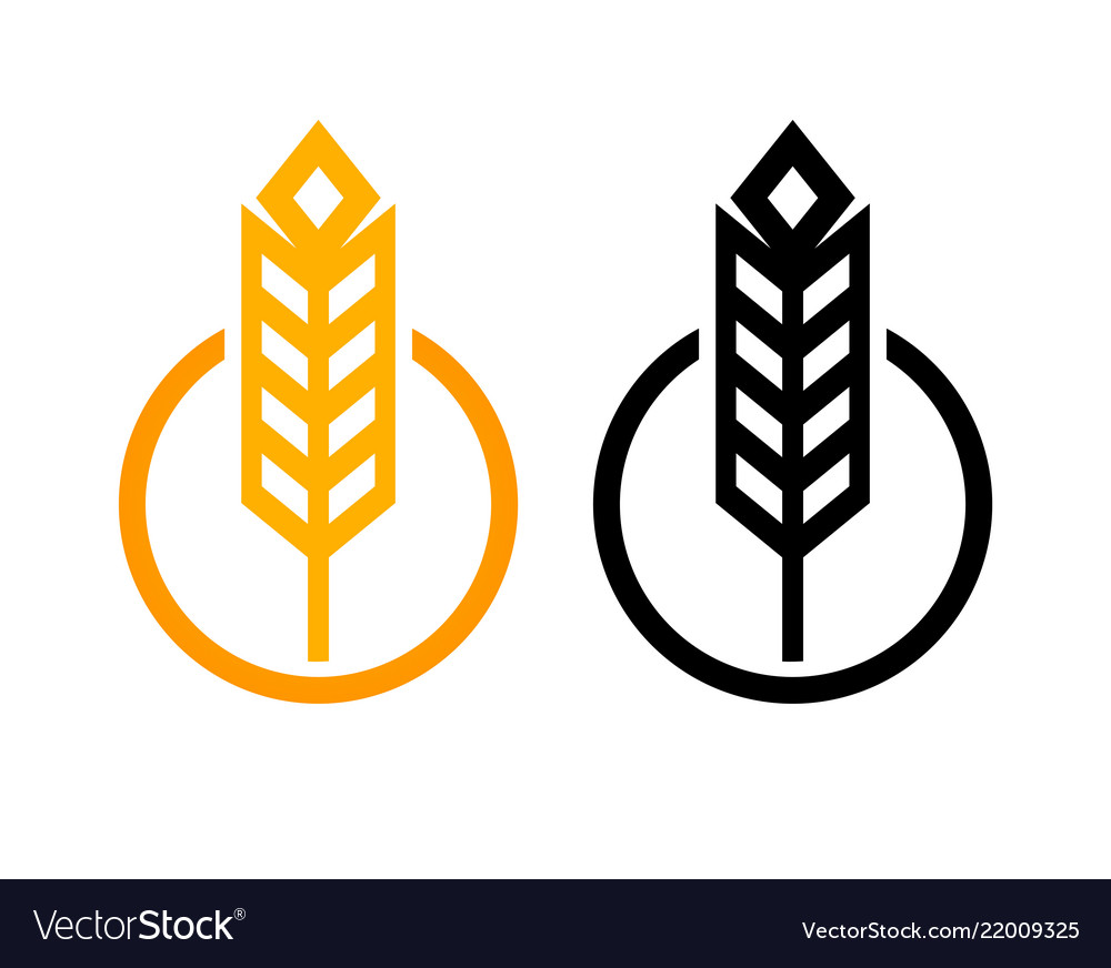 Ear of wheat - set of icons round form in