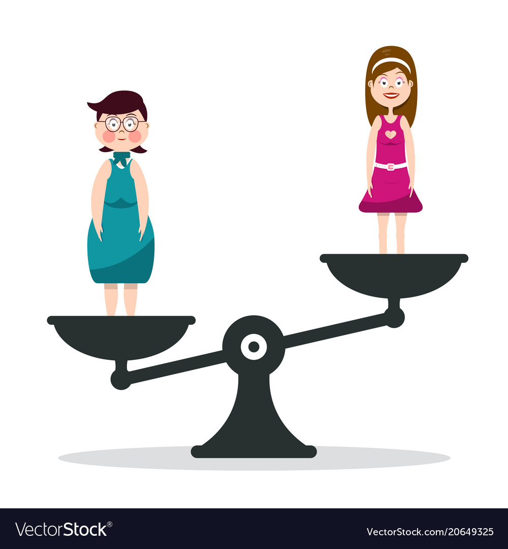 Fat and slim woman on scales girls on scale