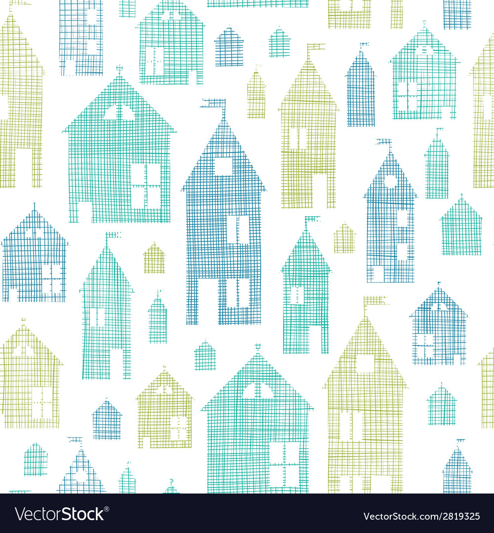 Houses blue green textile texture seamless pattern