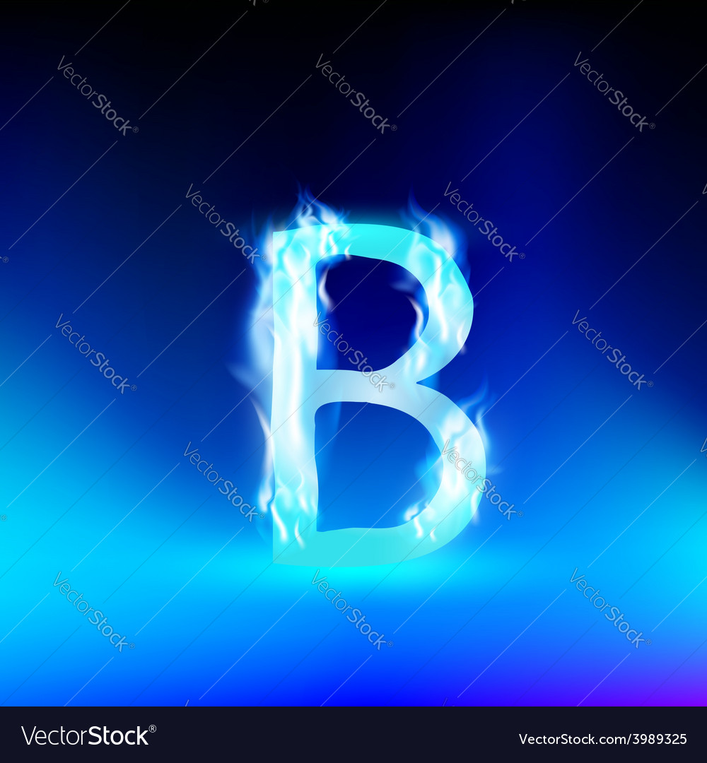 Letter with blue fire vector image