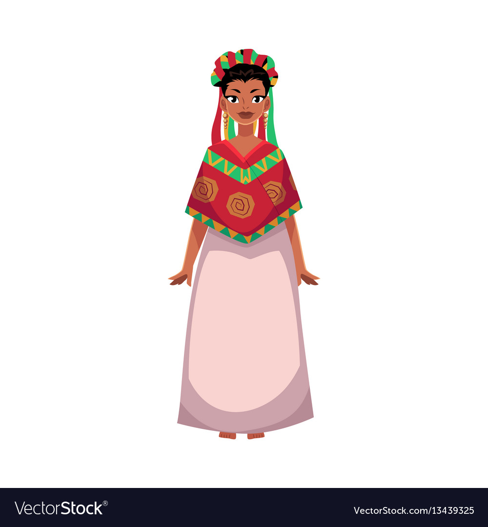 Mexican woman in national clothes serape and