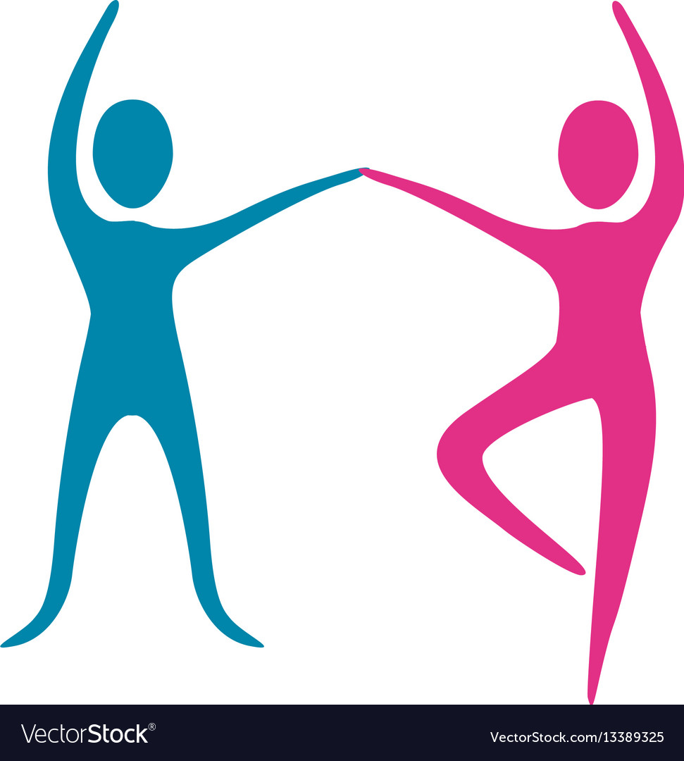 People fitness dancing icon vector image