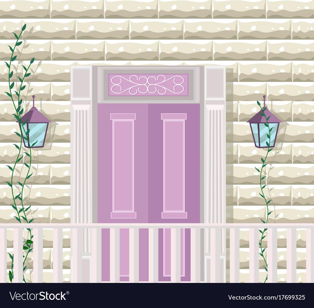 Pink door entrance facade