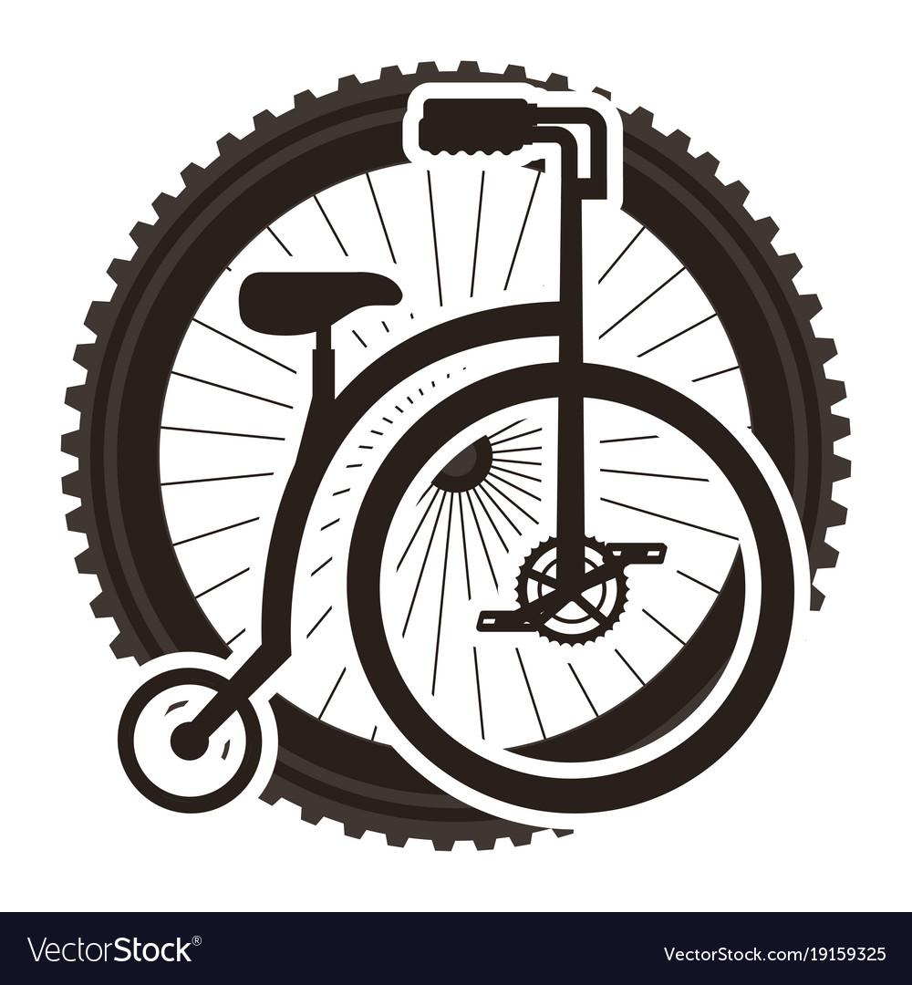 Retro bicycle with wheel