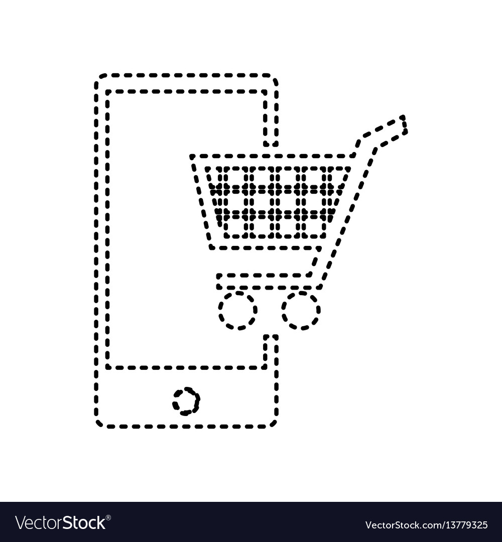 Shopping on smart phone sign black dashed vector image