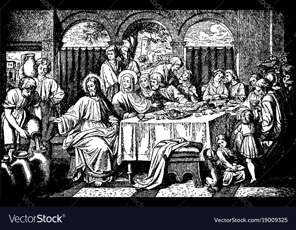 The marriage feast at cana - jesus turns water vector image