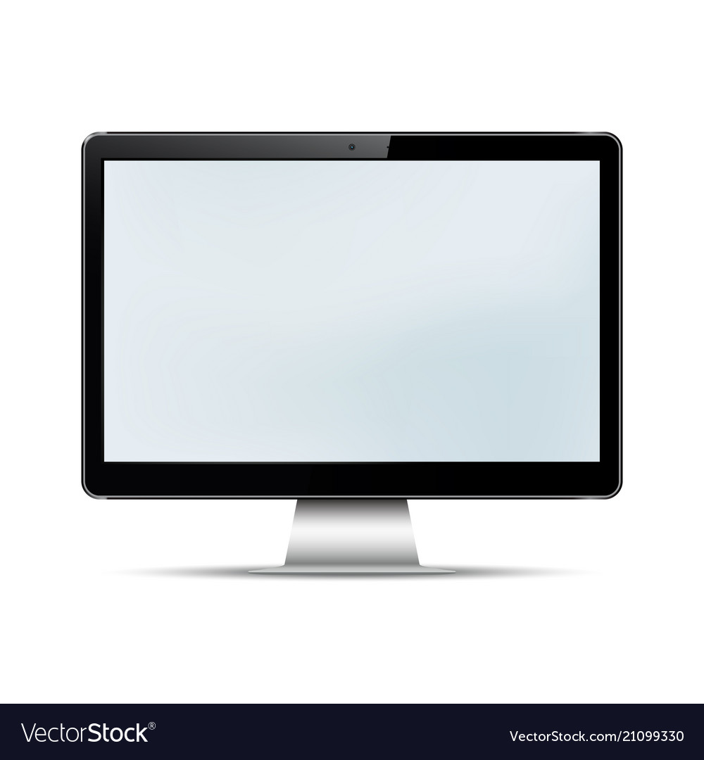 Blank computer display isolated on white