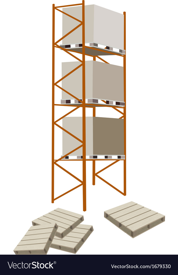 Cargo Shelf With Shipping Box and Pallet