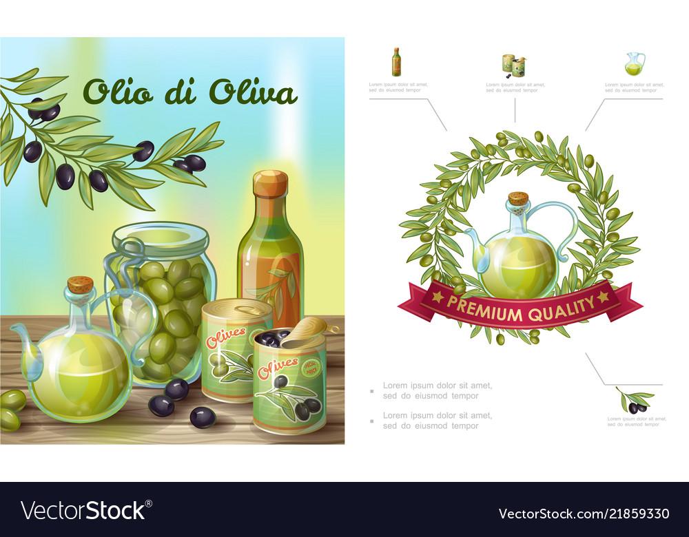 Cartoon healthy olive composition