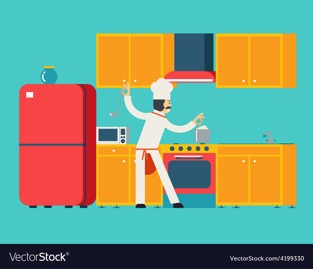 Chief Cook Food Dish Room Kitchen Furniture House Vector Image