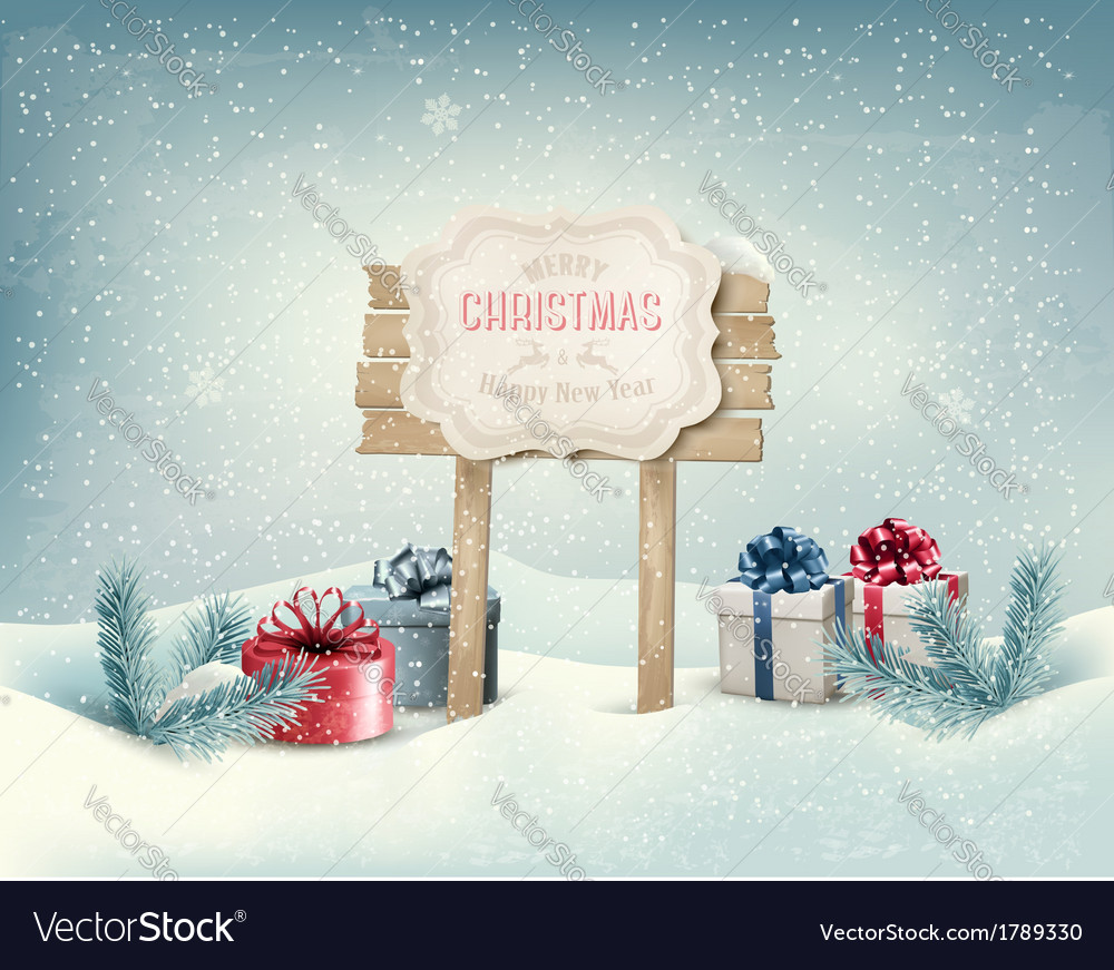 Christmas winter background with presents and