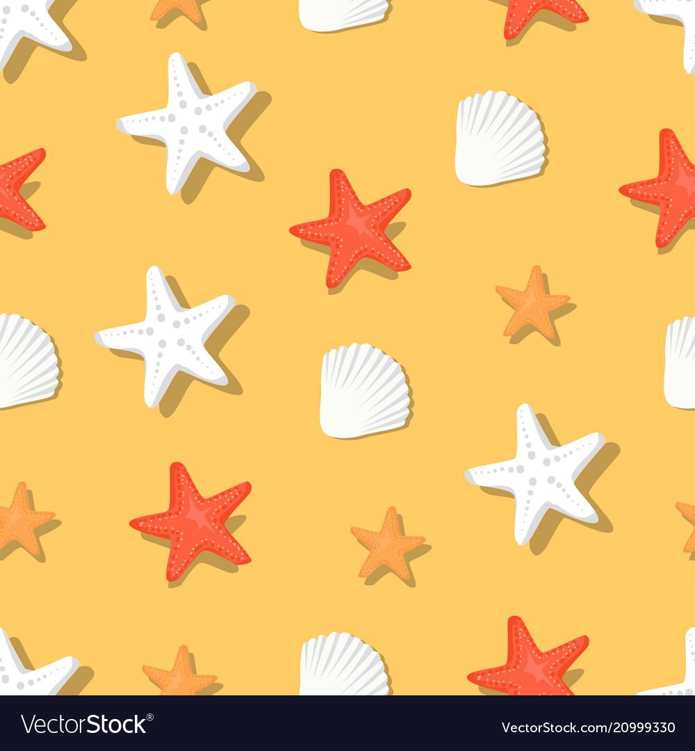 Color aquatic nautical shellfish and coral stars