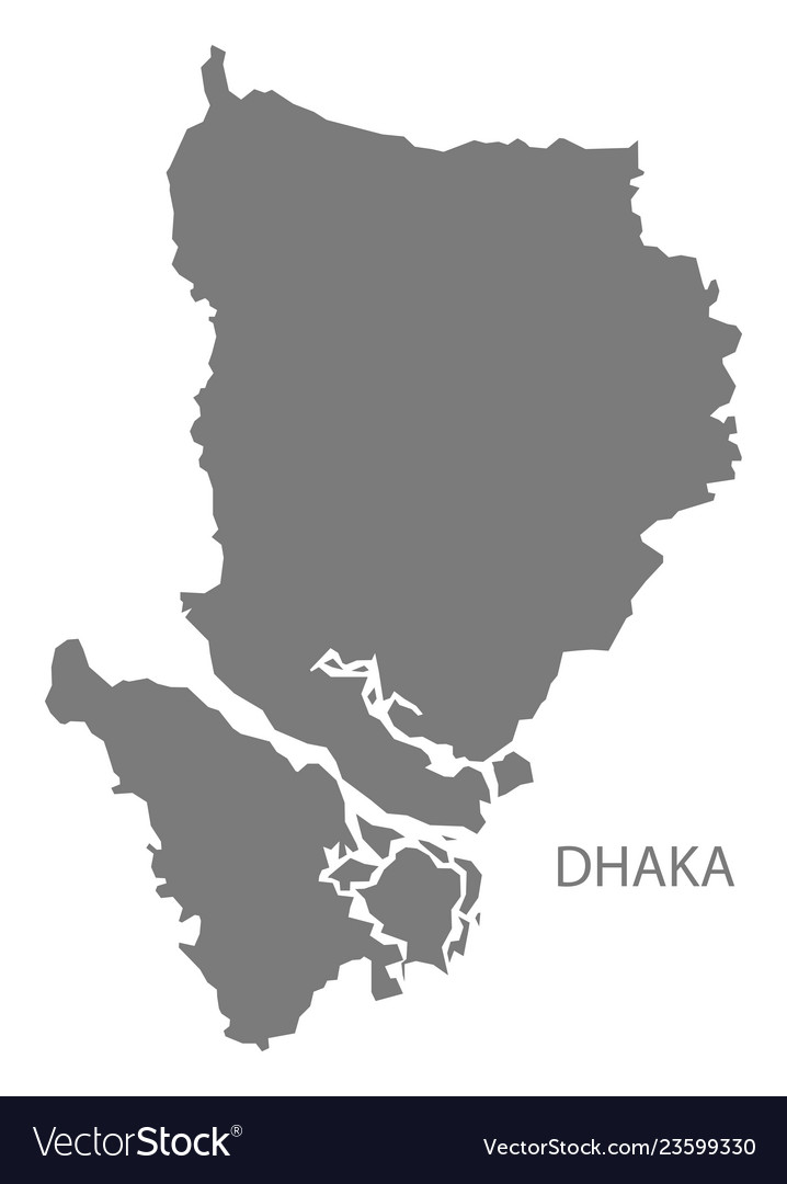 Dhaka desh map grey Royalty Free Vector Image on