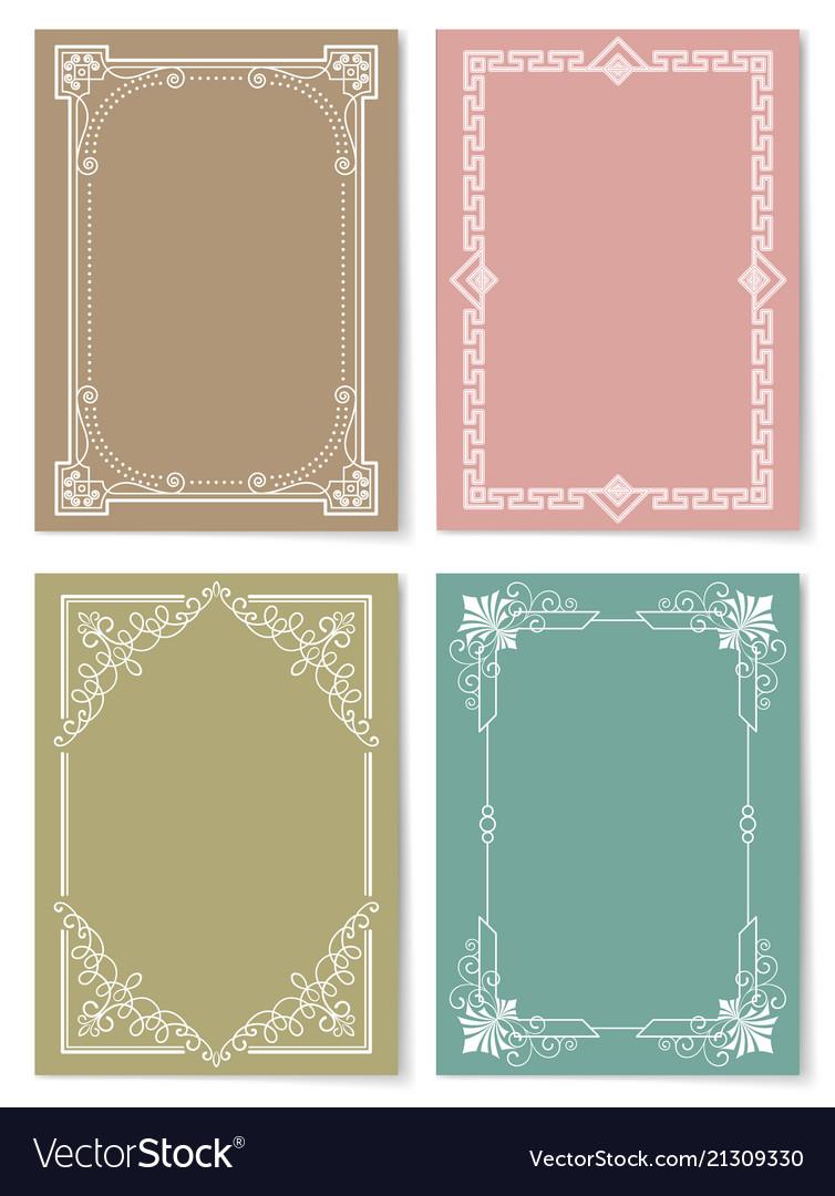 Engraving baroque style vintage frames set