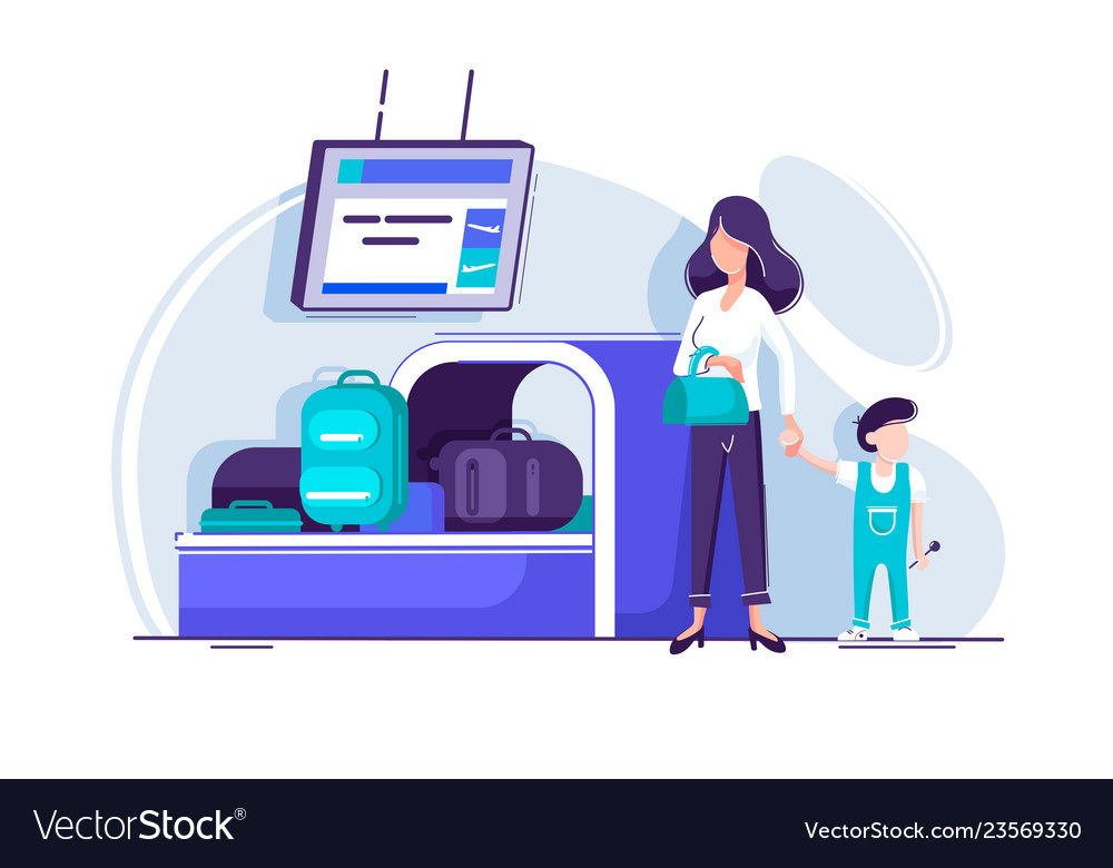 Flat young woman with children waiting baggage