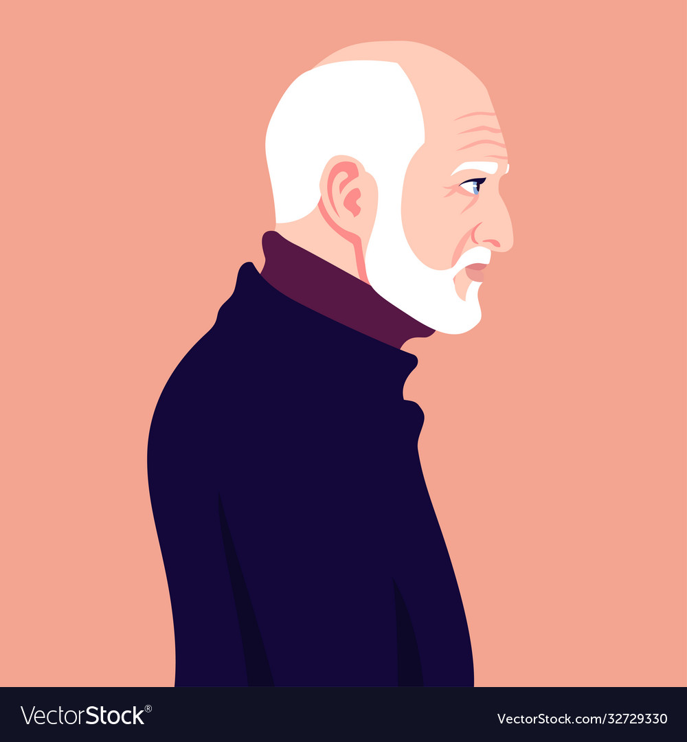 Head a bald old man with a white beard in