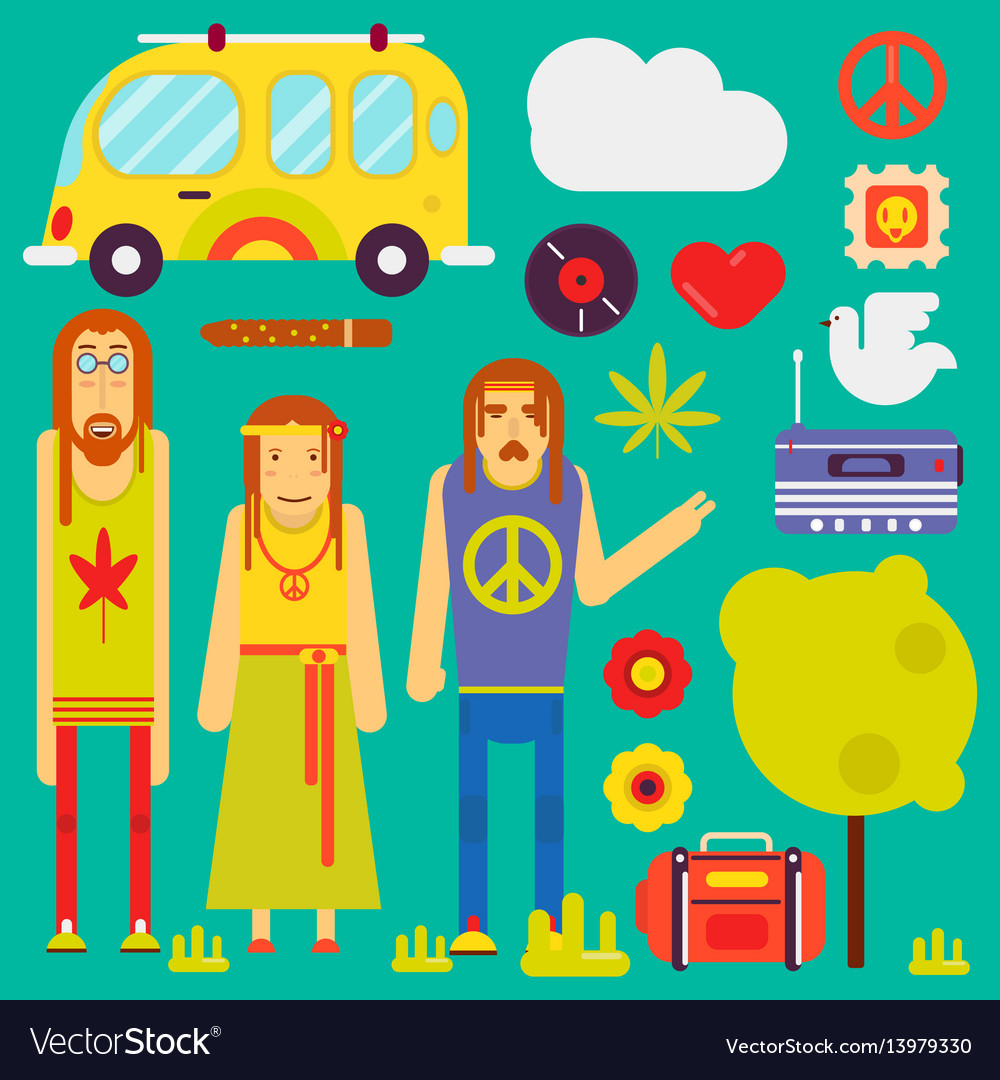 Hippie culture style characters and symbols