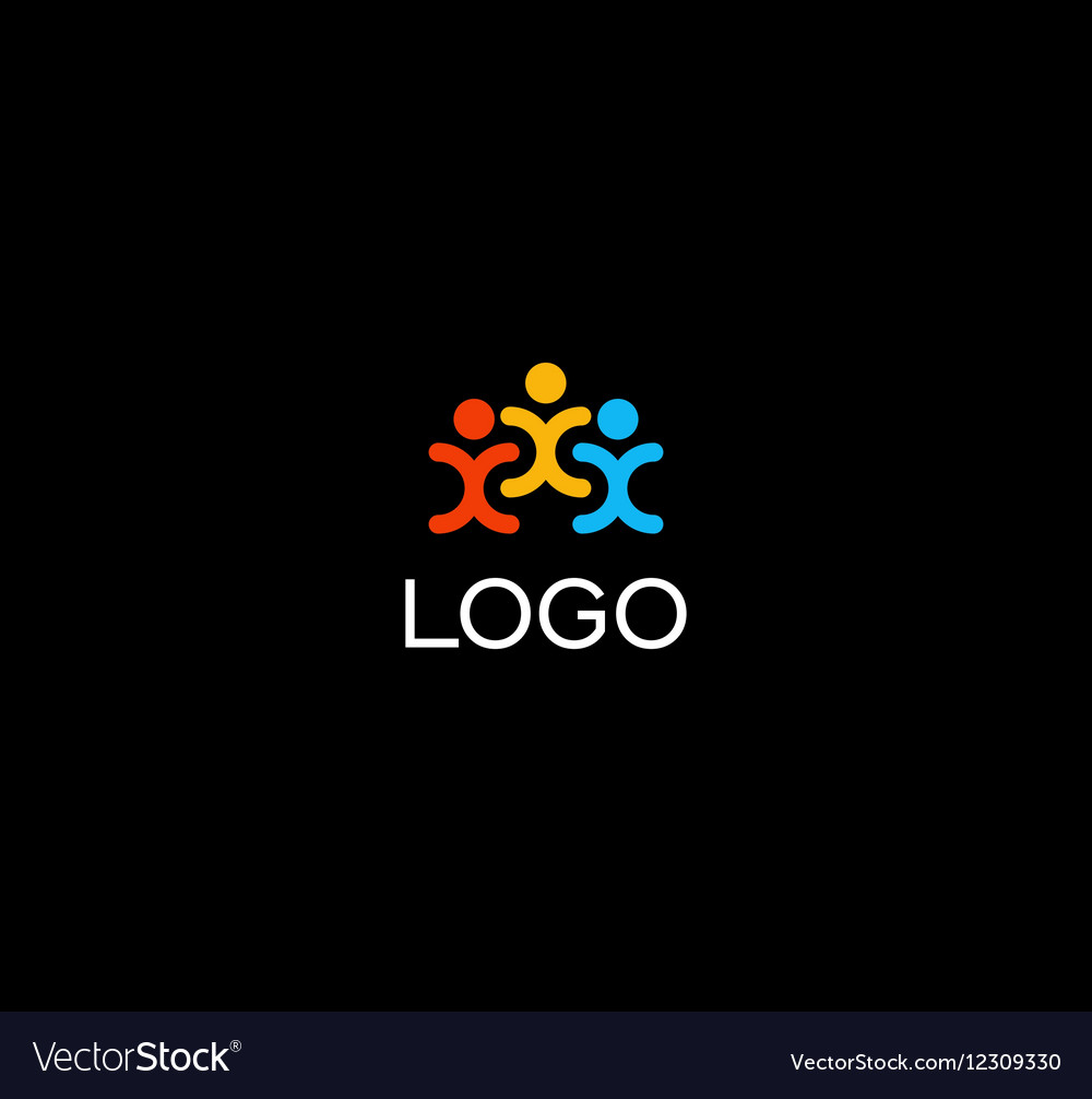 Isolated human silhouettes holding hands logo vector image